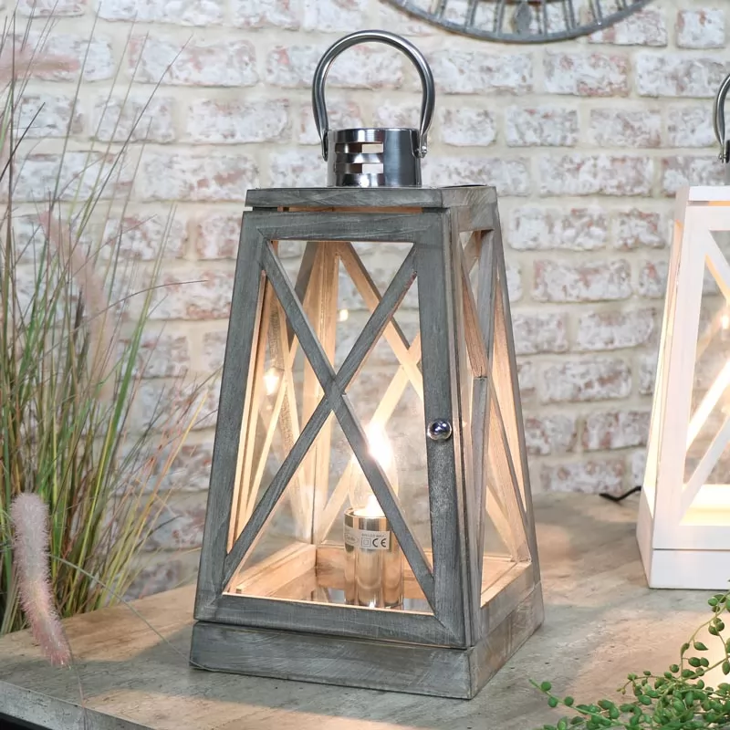 Grey Wooden Lantern Style Table Lamp In 2020 Wooden Lanterns Home Decor Accessories Lantern Lamp