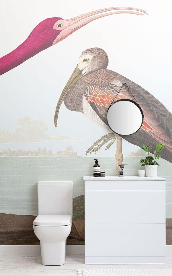 Carta da parati scarlet ibis bathroom fondo de for Essere minimalisti
