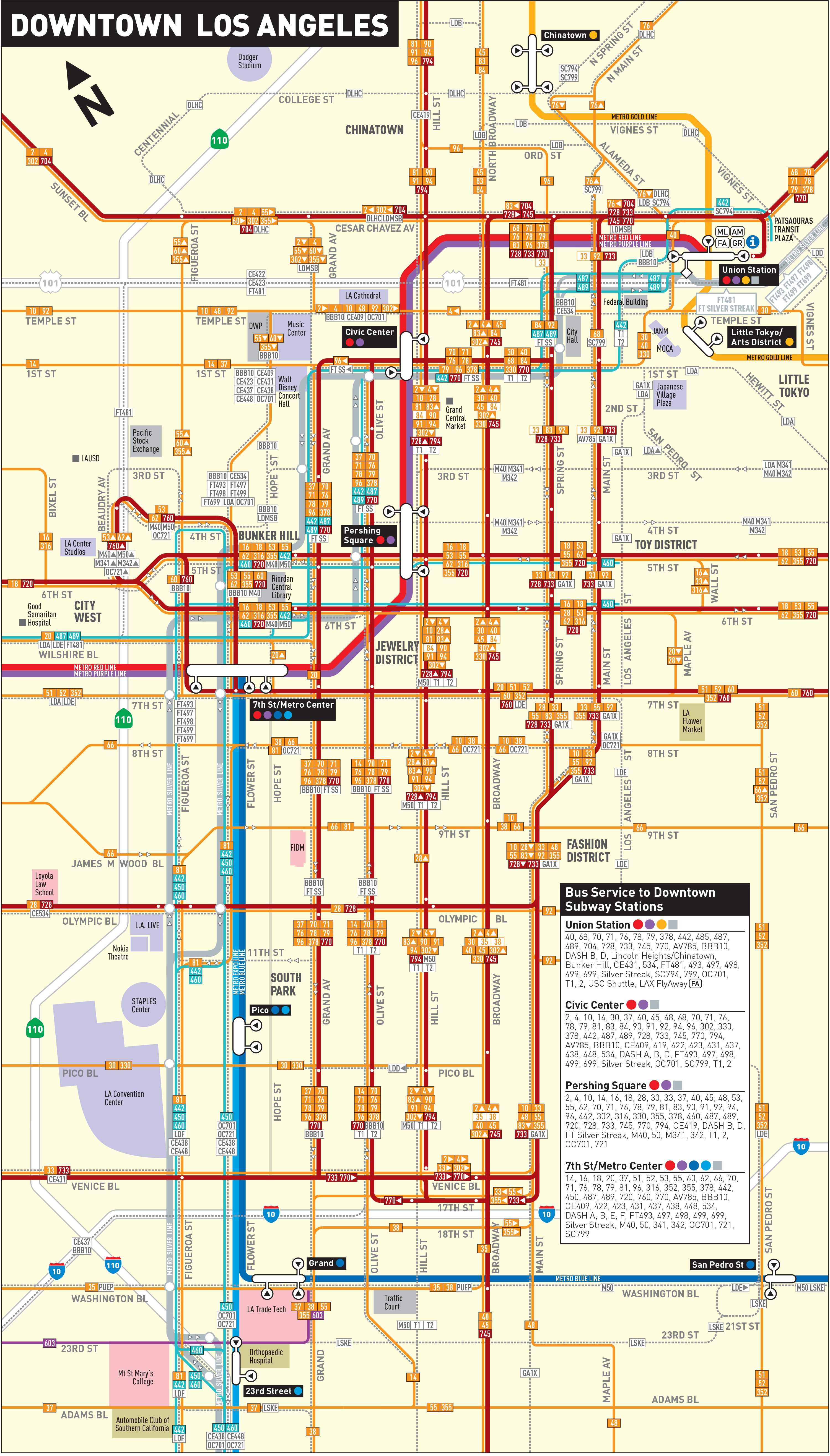 Downtown LA Bus Map Los Angeles Metropolitan Area Pinterest