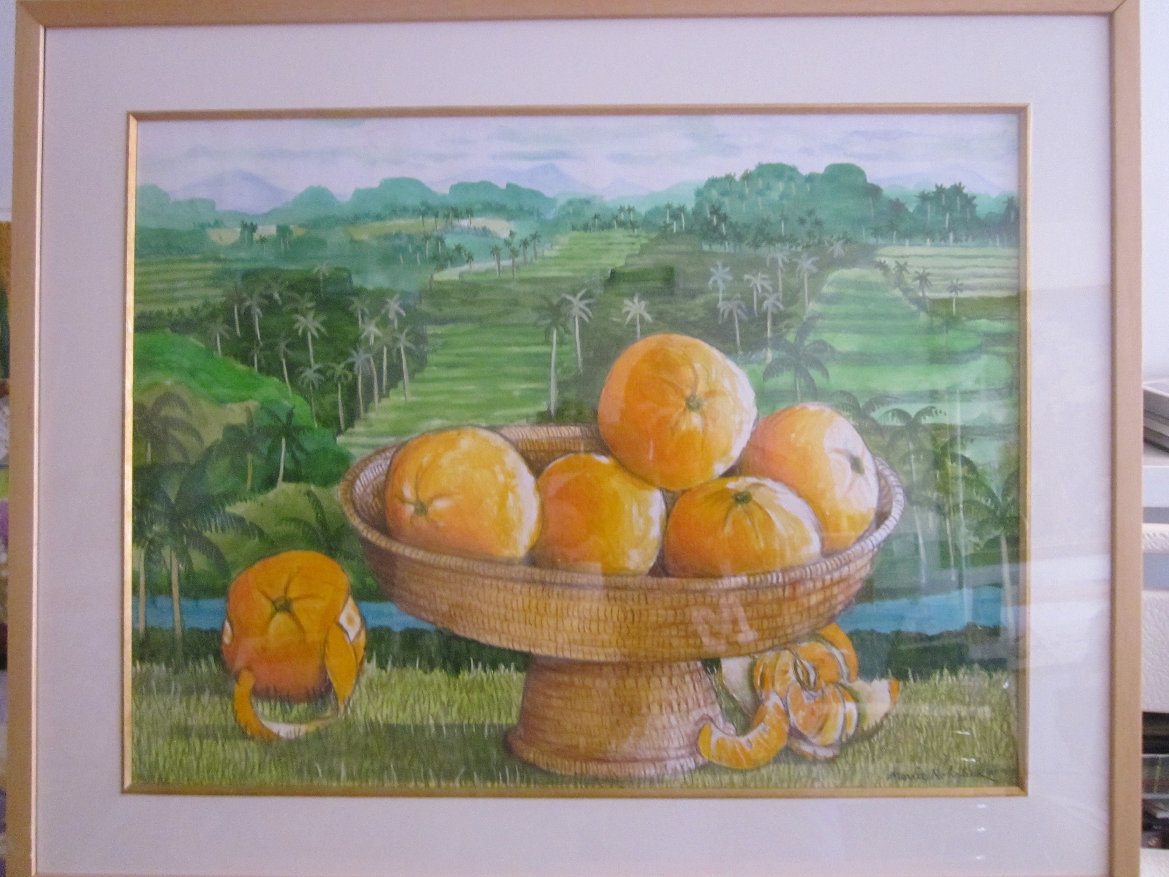 """""""Mandarins & Rice Terraces, Bali"""" by Morrie Rohrlick, 24"""" x 18 1/2"""", acrylics & colored pencils on paper (#25)"""