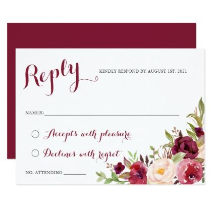 Floral berry burgundy rsvp respond card floral berry burgundy rsvp respond card wedding invitations cards custom invitation card design marriage party stopboris Image collections
