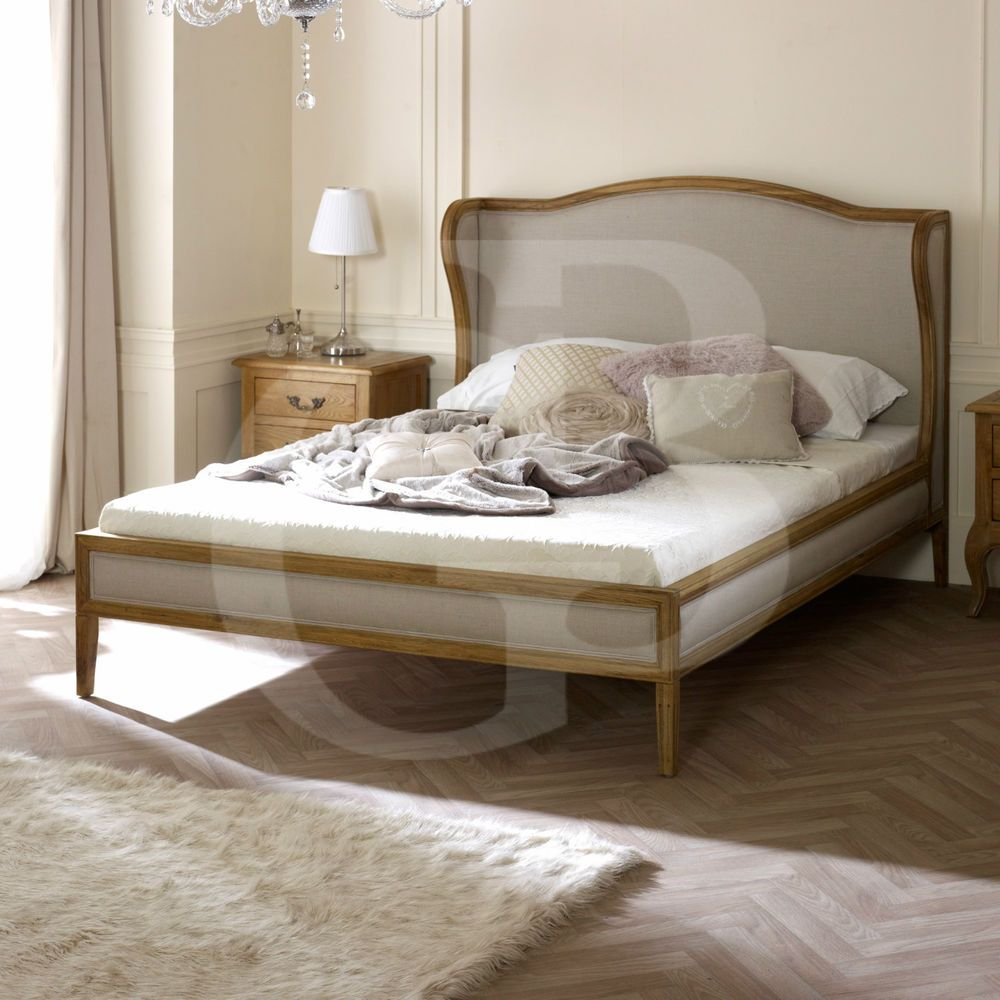 New Solid Oak Upholstered French Wing Back Bed EGB51