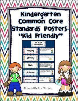Kindergarten Common Core Standards Posters Kid Friendly Kindergarten Common Core Standards Common Core Kindergarten Common Core Standards Posters