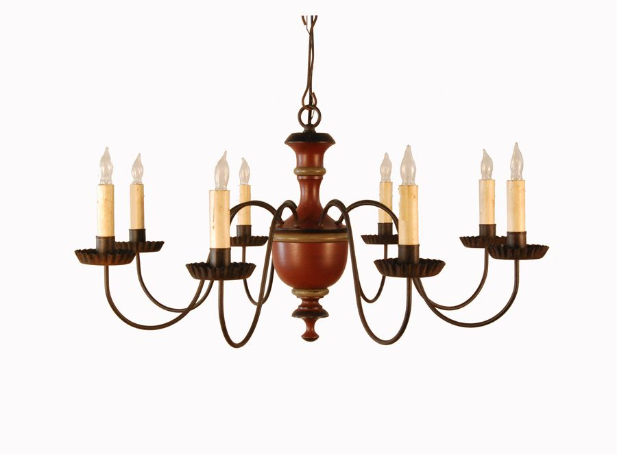Gainesville chandelier by lt moses finished in willard salem brick high quality handmade colonialearly american and folk art reproduction lighting chandelier with eight arms mozeypictures Image collections