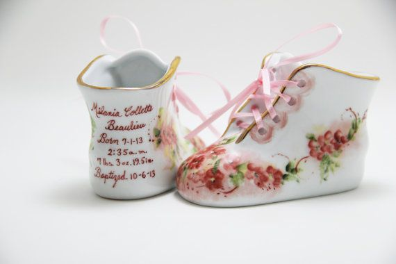 a443ea96baf81 Porcelain Baby Shoe - Personalized Baby Boy or Girl Shoe for Baptism ...