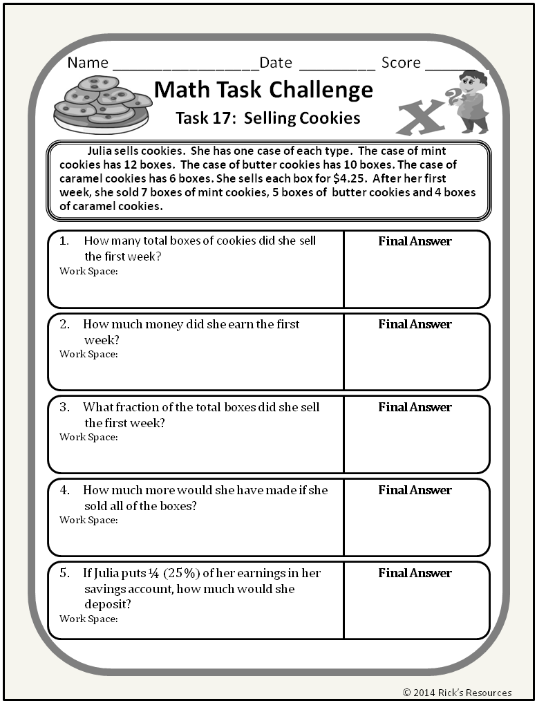 Math Word Problem Challenges Worksheets | Pinterest | Math story ...