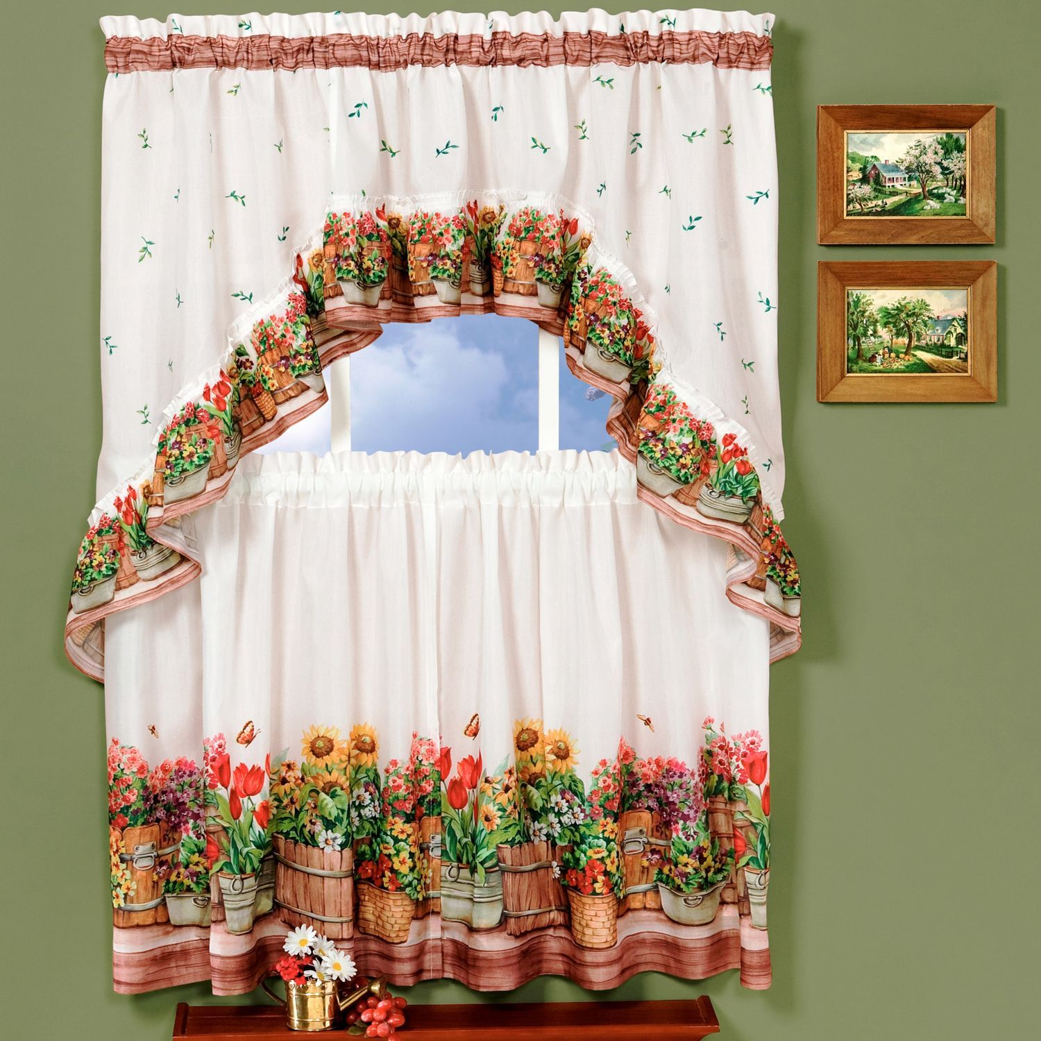 Traditional Two Piece Tailored Tier And Swag Window Curtains Set