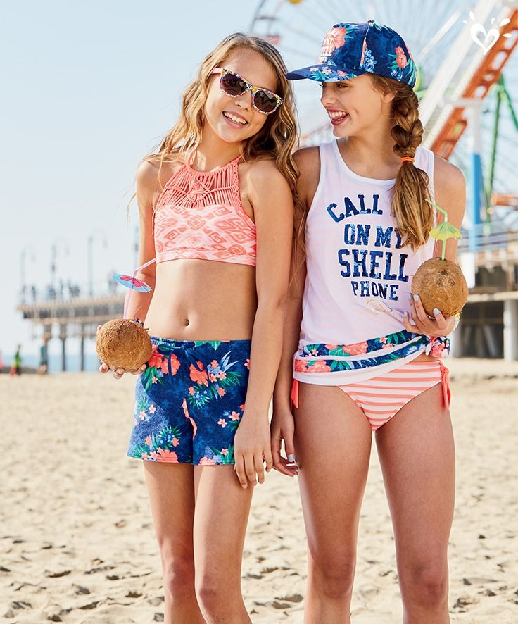 Tropical Corals And Orals She Ll Have Fun Putting Together Her Way Girls Outfits Tween Kids Swimwear