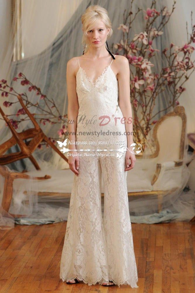 b2e0c7bb6ed6 Charming Spaghetti bridal pantsuit Lace spring wedding jumpsuit dresses  wps-015