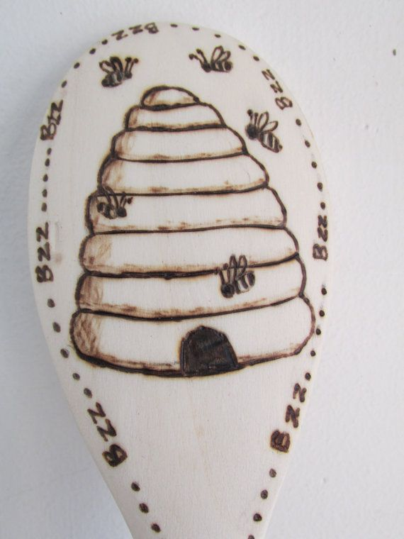 Wood Burned Spoon Quot Bees A Buzzin Quot Woodburning