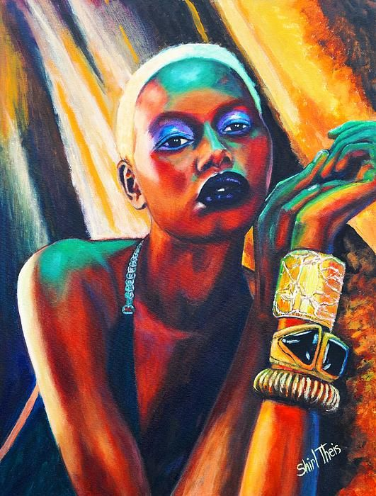 Ajak Deng -original acrylic painting with neon effects -shirltheisartstudio