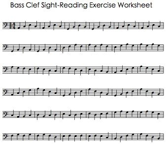 Worksheets Note Reading Worksheets bass clef sight reading exercise worksheet music theory lessons worksheet