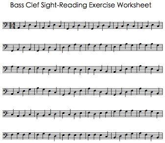 Bass Clef Sight Reading Exercise Worksheet