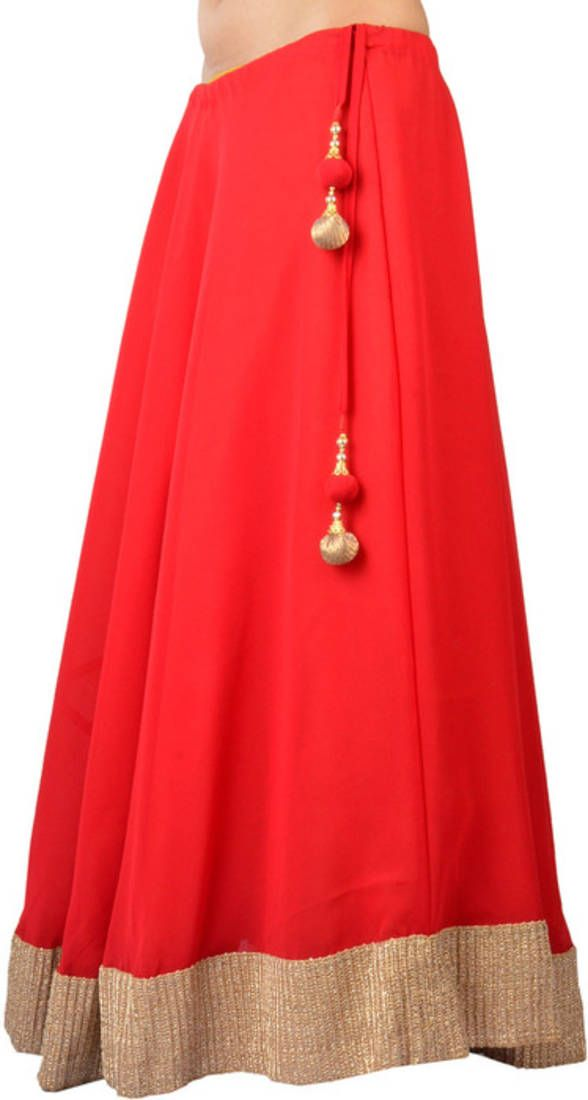 Georgette red gotta patti skirt with tassel | Oysters, Tassels and ...