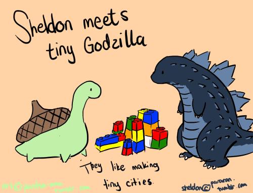 Sheldon meets tiny Godzilla  They like making tiny cities | Aww