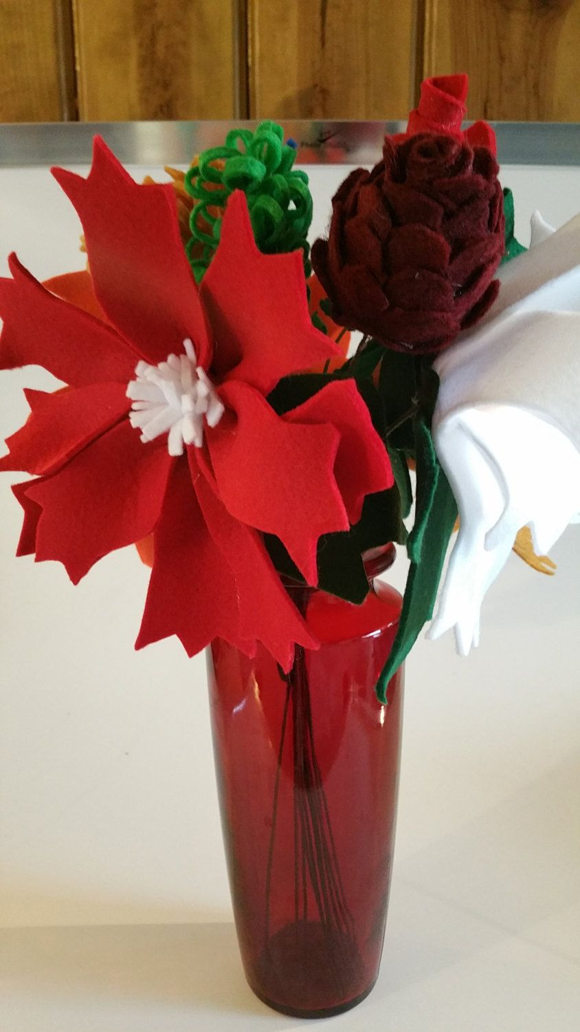 Big and bold christmas felt flowers bouquet unique christmas big and bold christmas felt flowers bouquet unique christmas bouquet izmirmasajfo