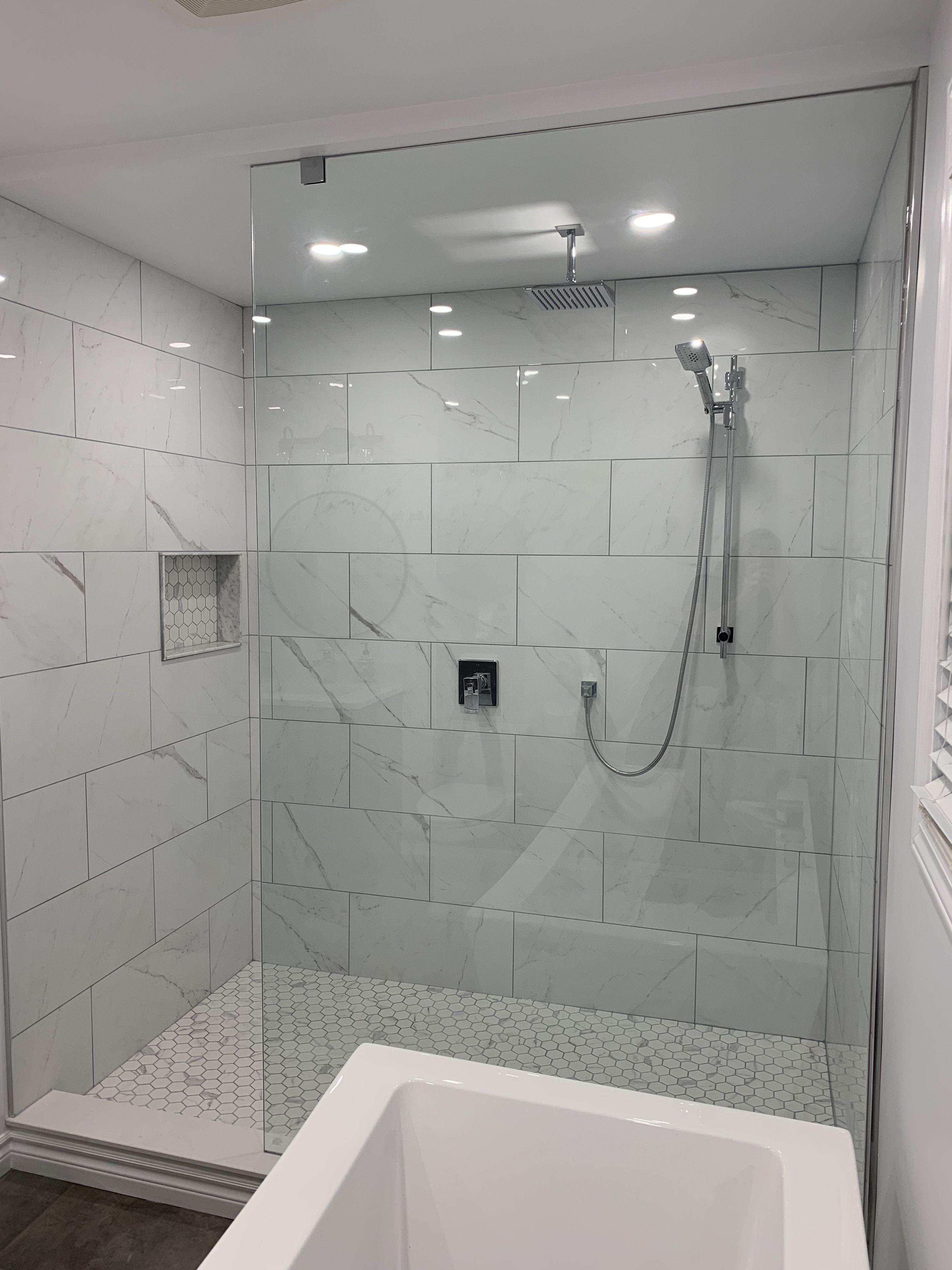 Glass Walk In Shower White Marble Shower Tile Shower Wall Tile Bathroom Shower Walls