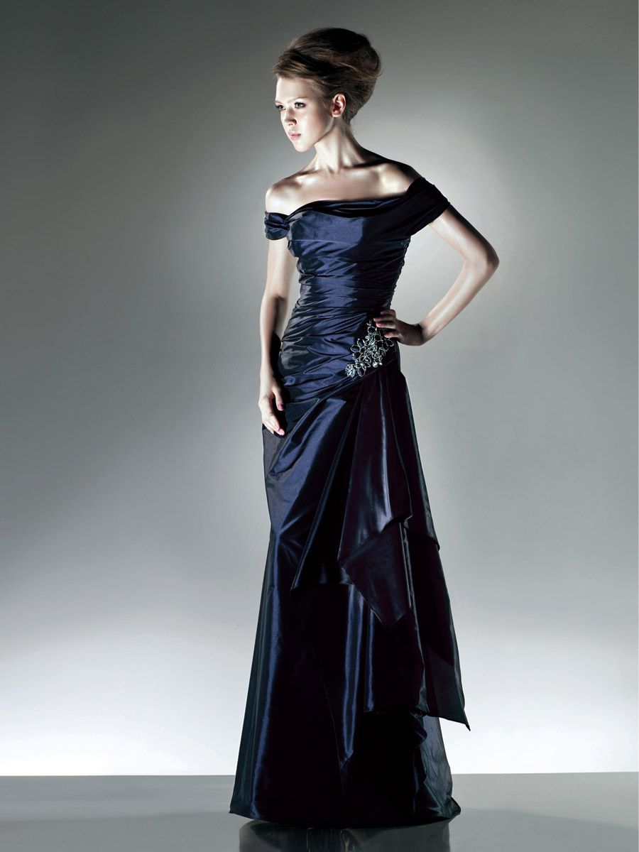 Dark navy evening prom dress off the shoulder cap sleeves party