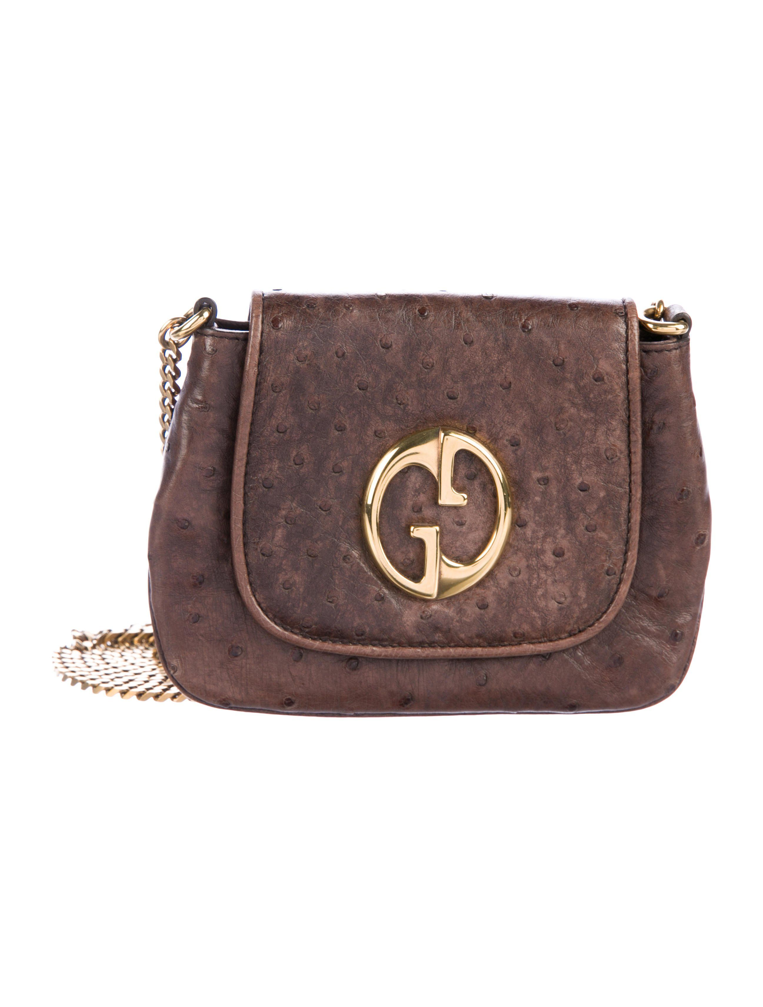 56b1a7585bb Brown ostrich Gucci Small 1973 Crossbody Bag with gold-tone hardware