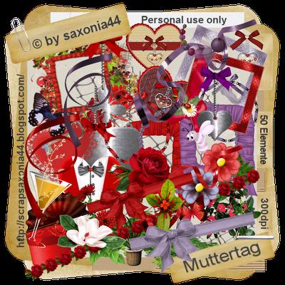 saxonia44: Muttertag. Colección de papeles y elementos en rojo y lila.