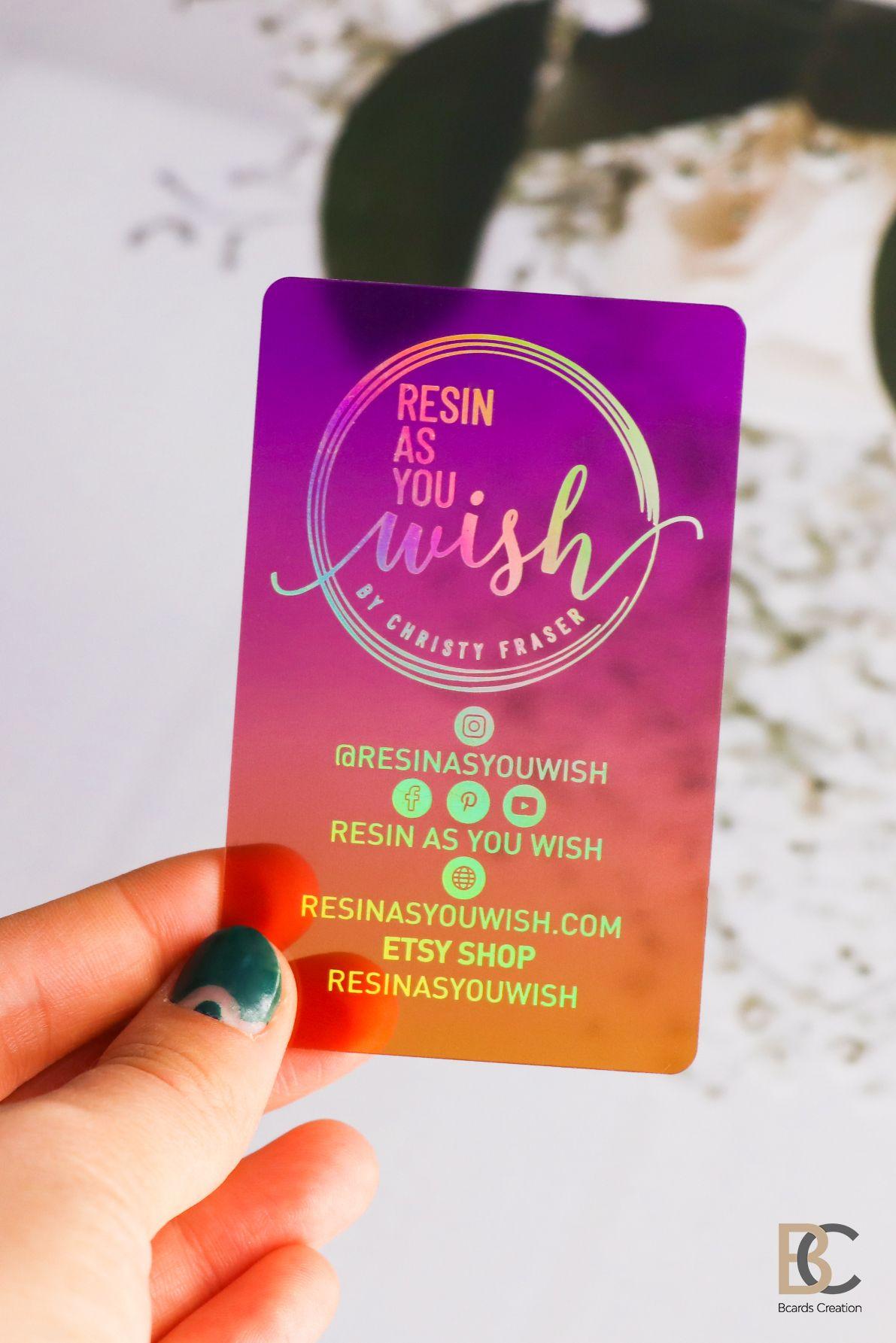 Colored Translucent Plastic Business Cards With Holographic Etsy Plastic Business Cards Transparent Business Cards Thick Business Cards