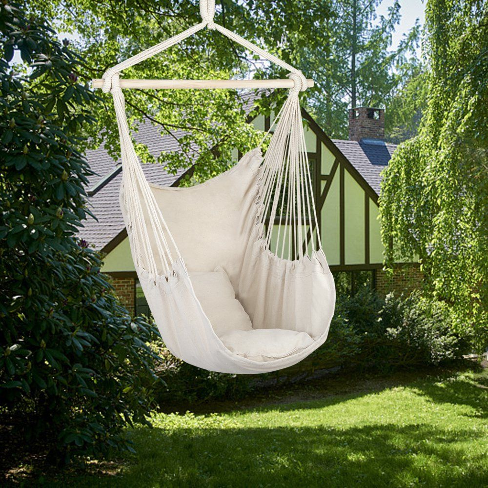 Large Hammock Chair Swing Relax Hanging Rope Swing Chair With Two Seat Cushions Hanging Hardware Kit Carry Bag Cotton Hammock Chair Swing Seat For Yard Bed In 2020 Hammock Swing