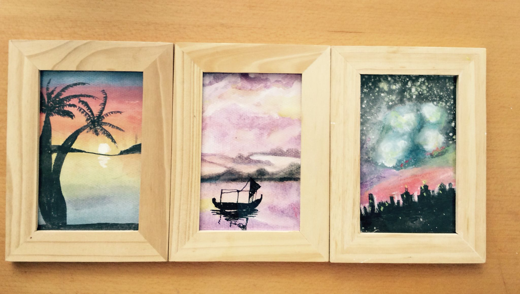 Three frames 9x14cm watercolor 3 weather Afternoon Sunset Midnight ...