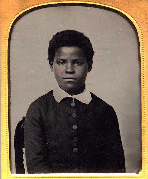 """""""Slave Boy Brought to Waterbury from Bucks Hill by Aunt Ella Johnson's Second Husband (Whelan)"""" Ninth-plate ambrotype, circa 1855 The Face of Slavery & Other African American Photographs -- American Museum of Photography"""