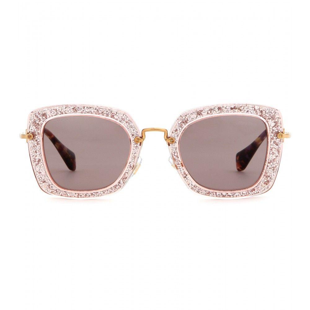 1a10ca88006b mytheresa.com - Glitter square sunglasses - Sunglasses - Accessories - Miu  Miu - Luxury Fashion for Women / Designer clothing, shoes, bags