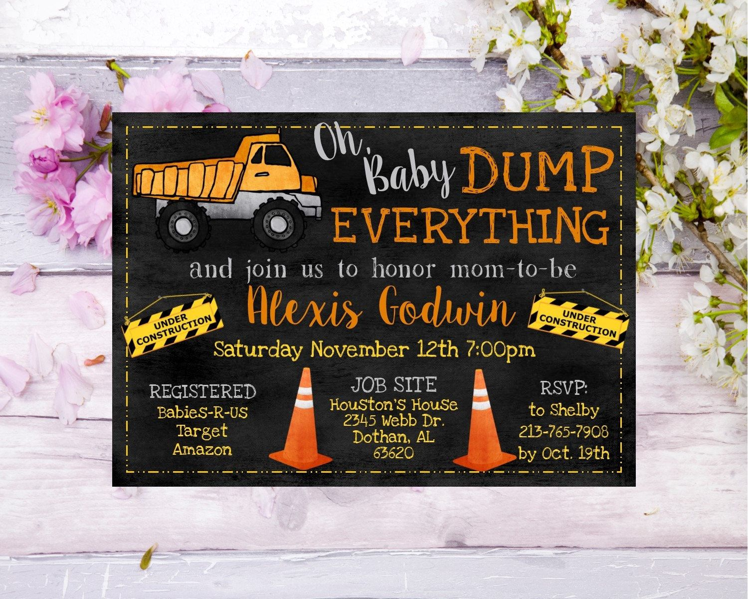 Check out this adorable construction themed baby shower invitation ...