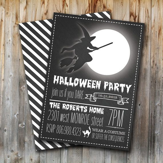 Printable Halloween Party Invitation: Wickd Witch, Digital File, Chalkboard, Invite, Black and White