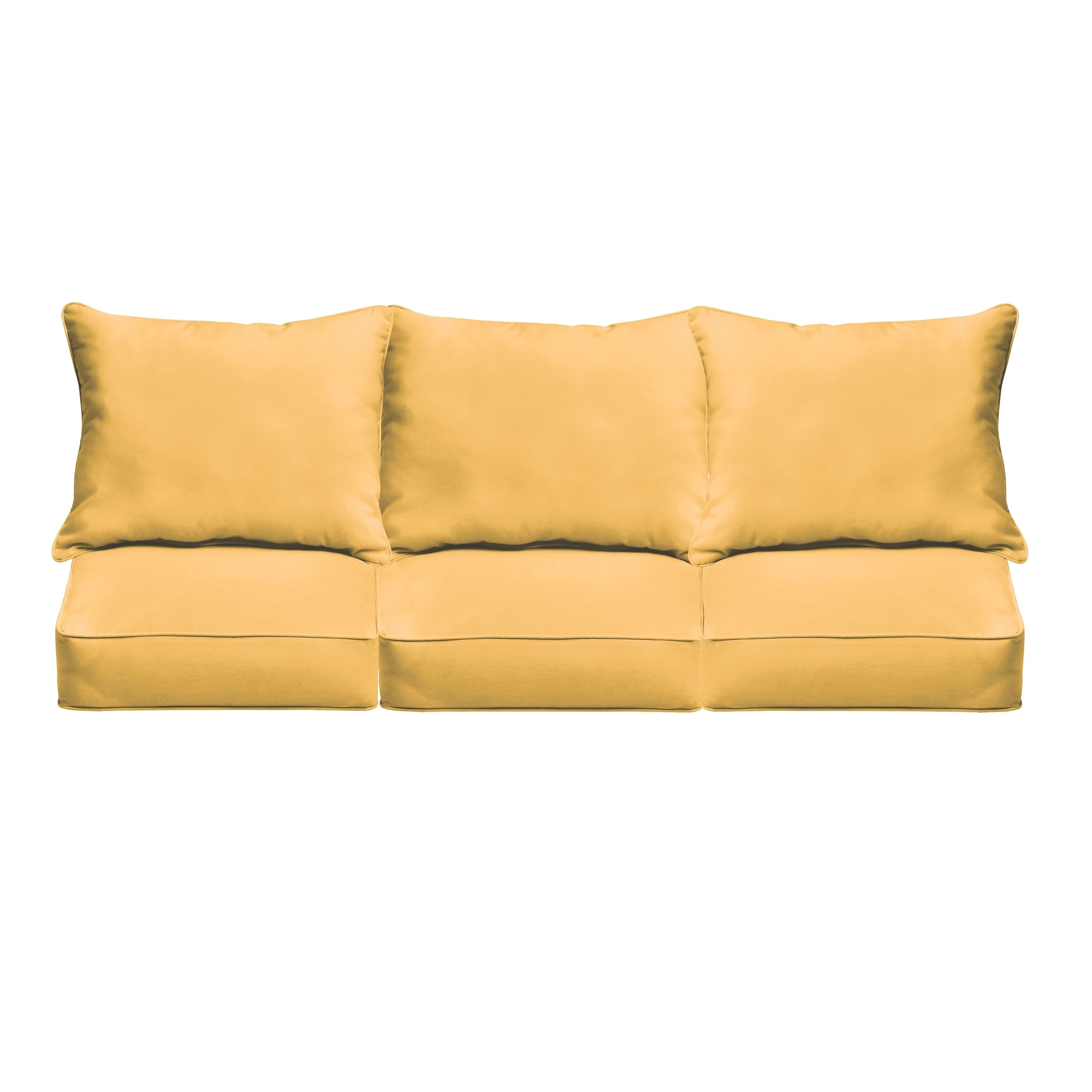 Sloane butter yellow indoor outdoor corded sofa cushion set fabric
