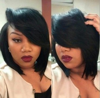 Quickweave Bob Haircut with Deep Side Part