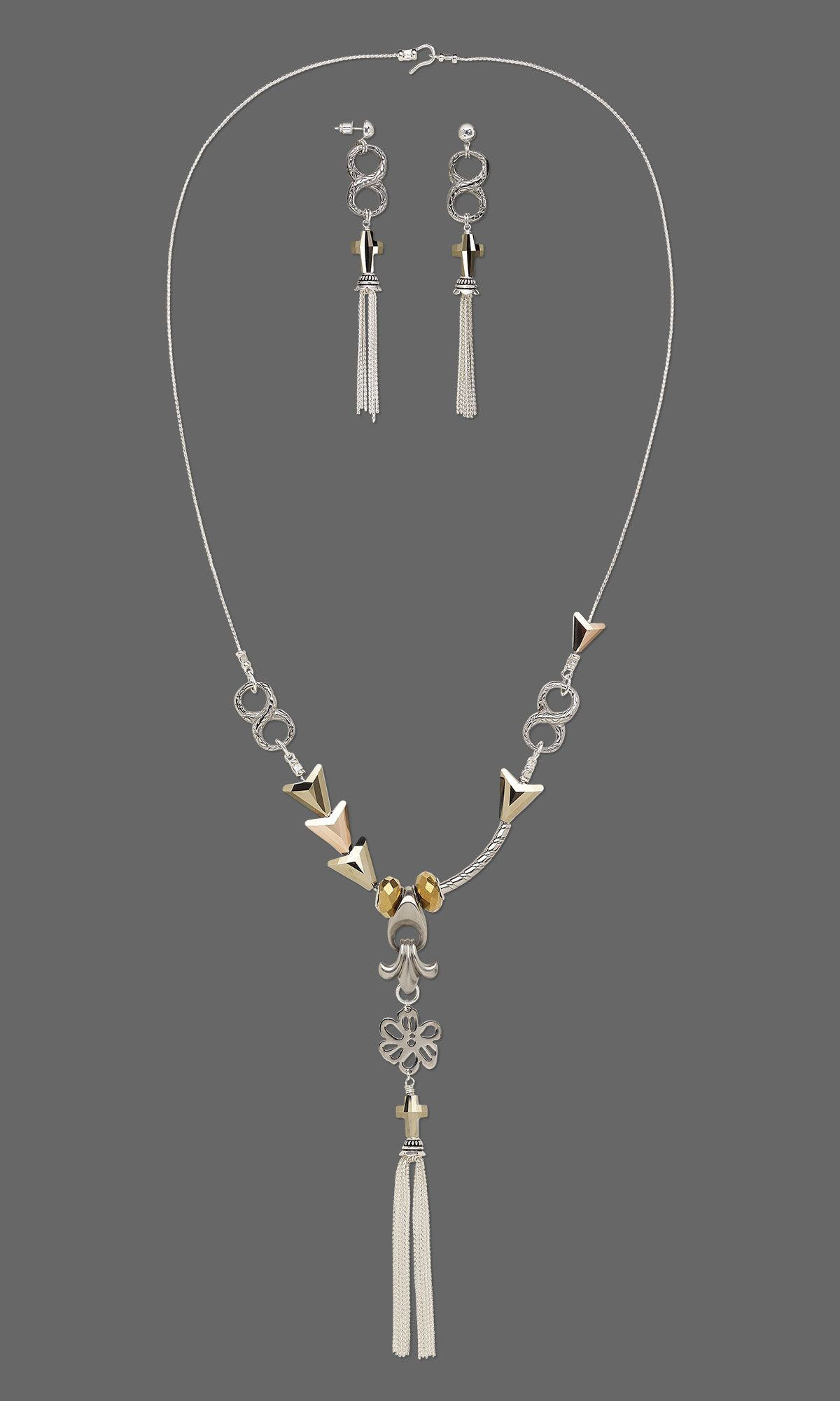Jewelry design singlestrand necklace and earring set with