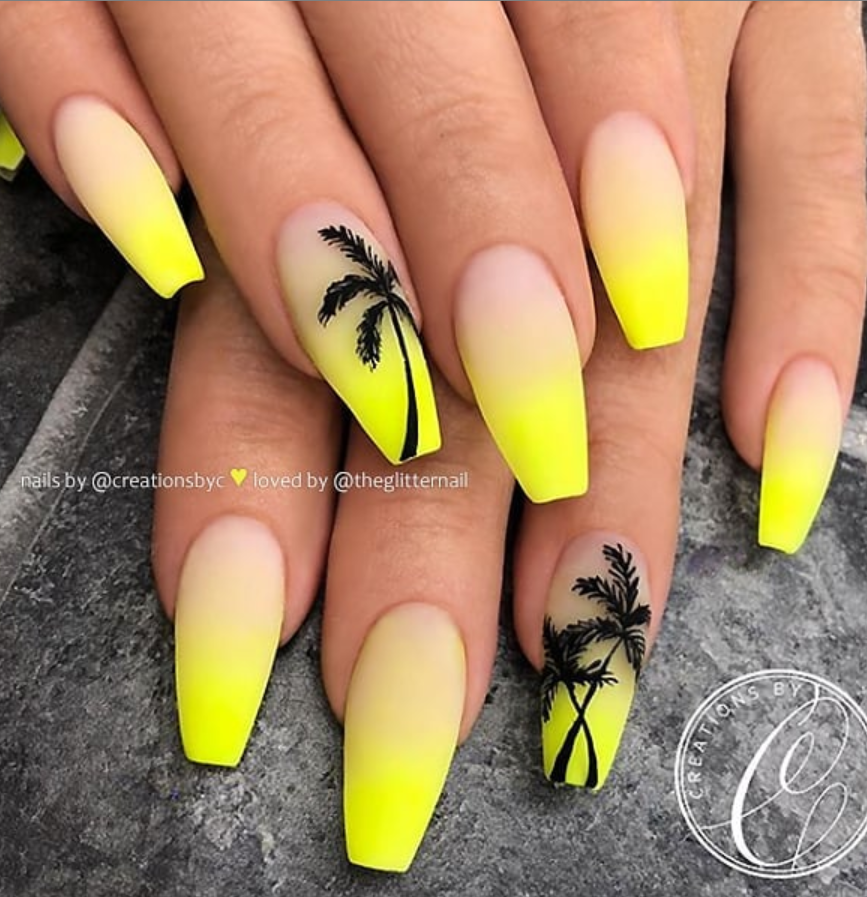 Matte Yellow acrylic coffin nails design, Yellow gel nails