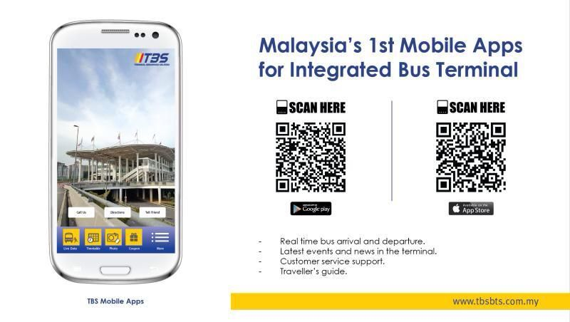 Try out our newest application, TBS mobile application for Terminal Bersepadu Selatan located in Bandar Tasik Selatan, Malaysia. Available in Android and IOS! Download it now!