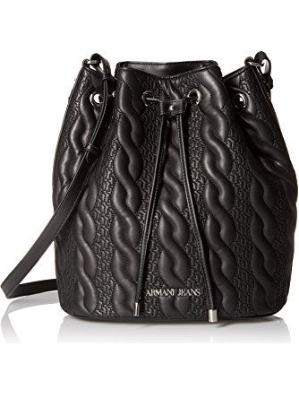 8d7eacbc72b7 Armani Jeans Braid Pattern Eco Leather Bucket Bag