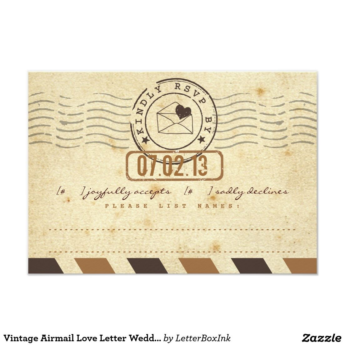 Vintage Airmail Love Letter Wedding Response Card | Wedding response ...