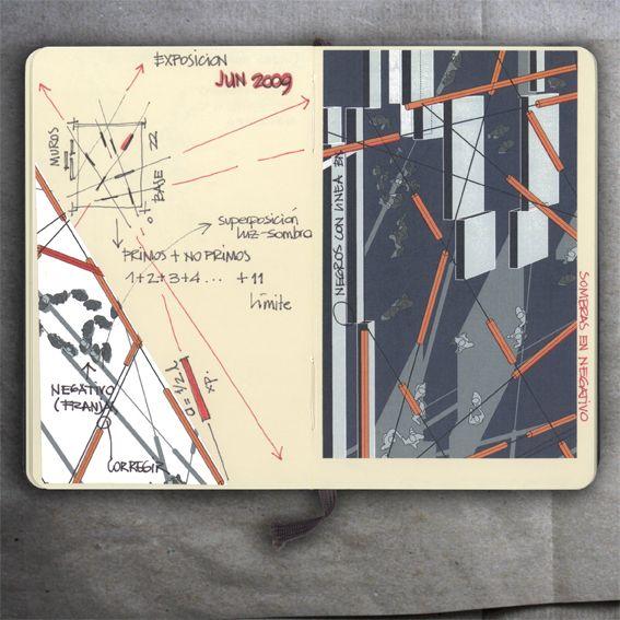 Exhibition (sketch)_Moleskine (Ink and paper), 2009_Mariasun Salgado