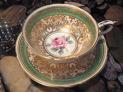 PARAGON TEA CUP & SAUCER GREEN & GOLD with PINK ROSE