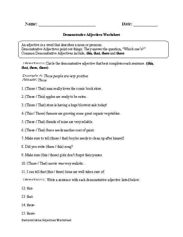 2nd Grade free printable adjective worksheets for 2nd grade : Demonstrative Adjectives Worksheet | English | Pinterest ...