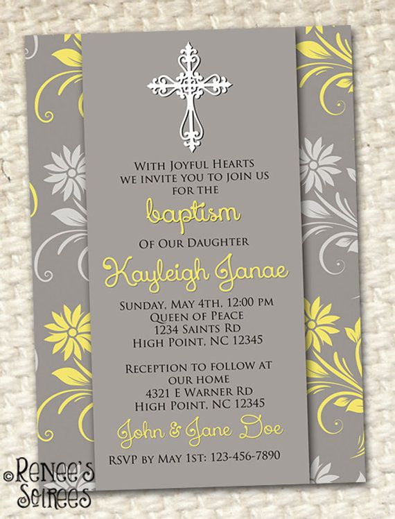 FIRST COMMUNION or BAPTISM Invitation - Printable Floral Invite - sample baptismal invitation for twins
