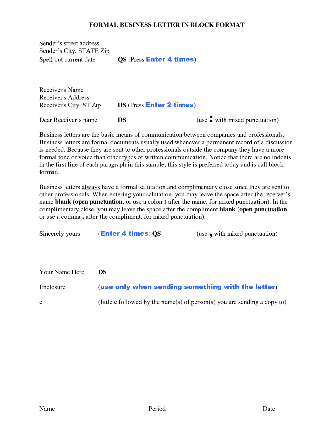 Formal Block Letter Format Business Place Date Below Letterhead