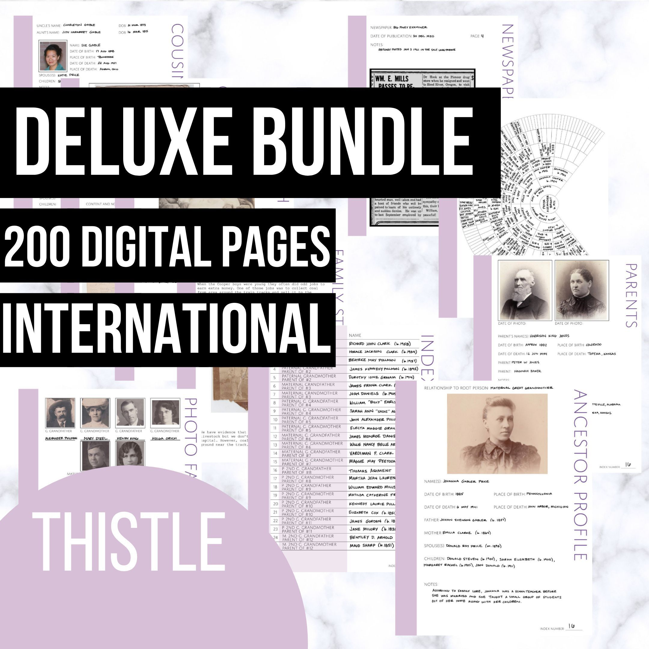 Deluxe Bundle Of Family History Pages In