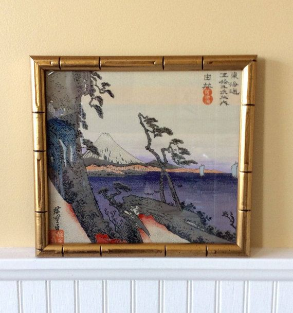 Vintage Asian Silk Embroidered Picture in Gold Bamboo Frame, Asian ...