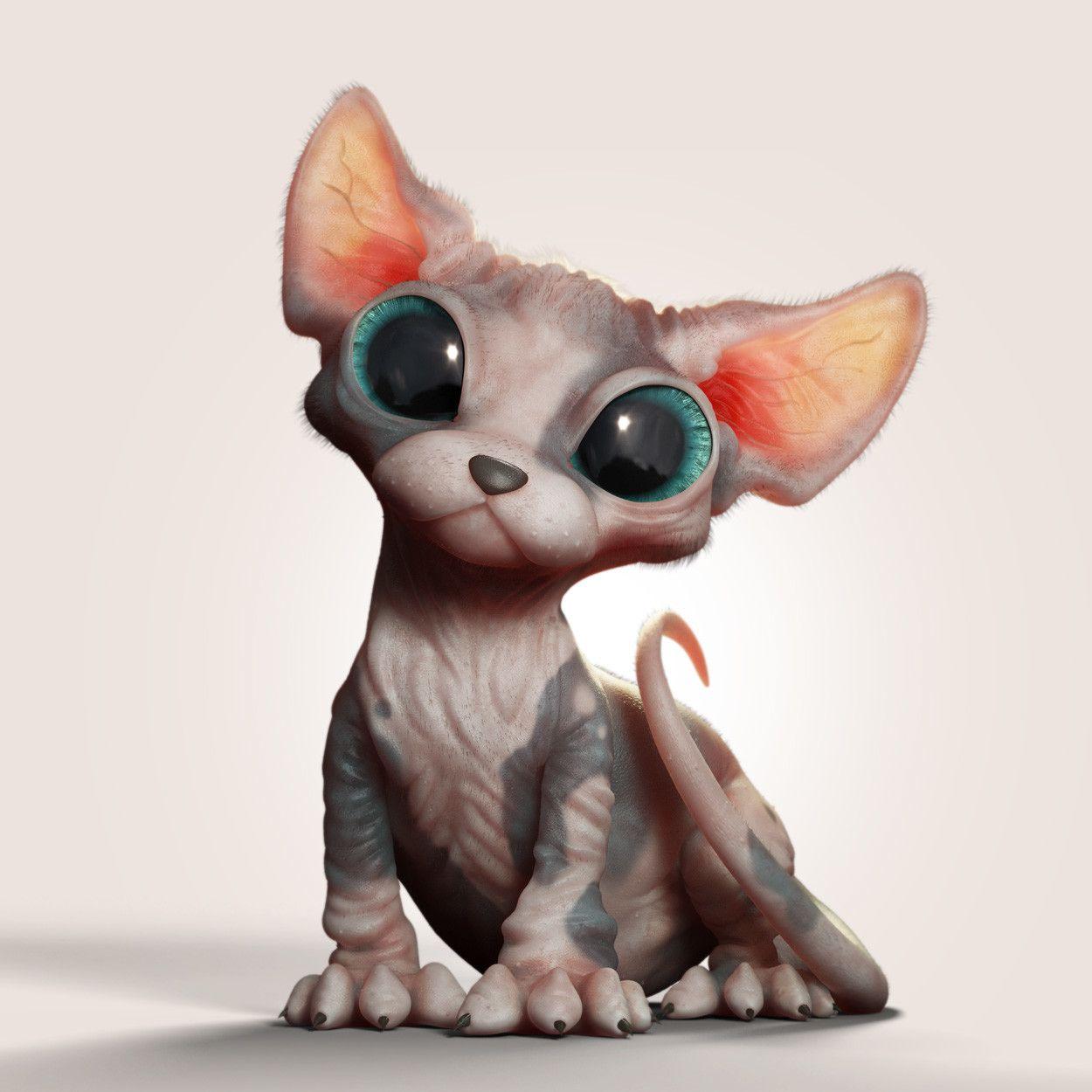 Sphynx Kitten Marcos Nicacio On Artstation At Https Www Artstation Com Artwork Xknko Cat Art Sphynx Cat Drawing