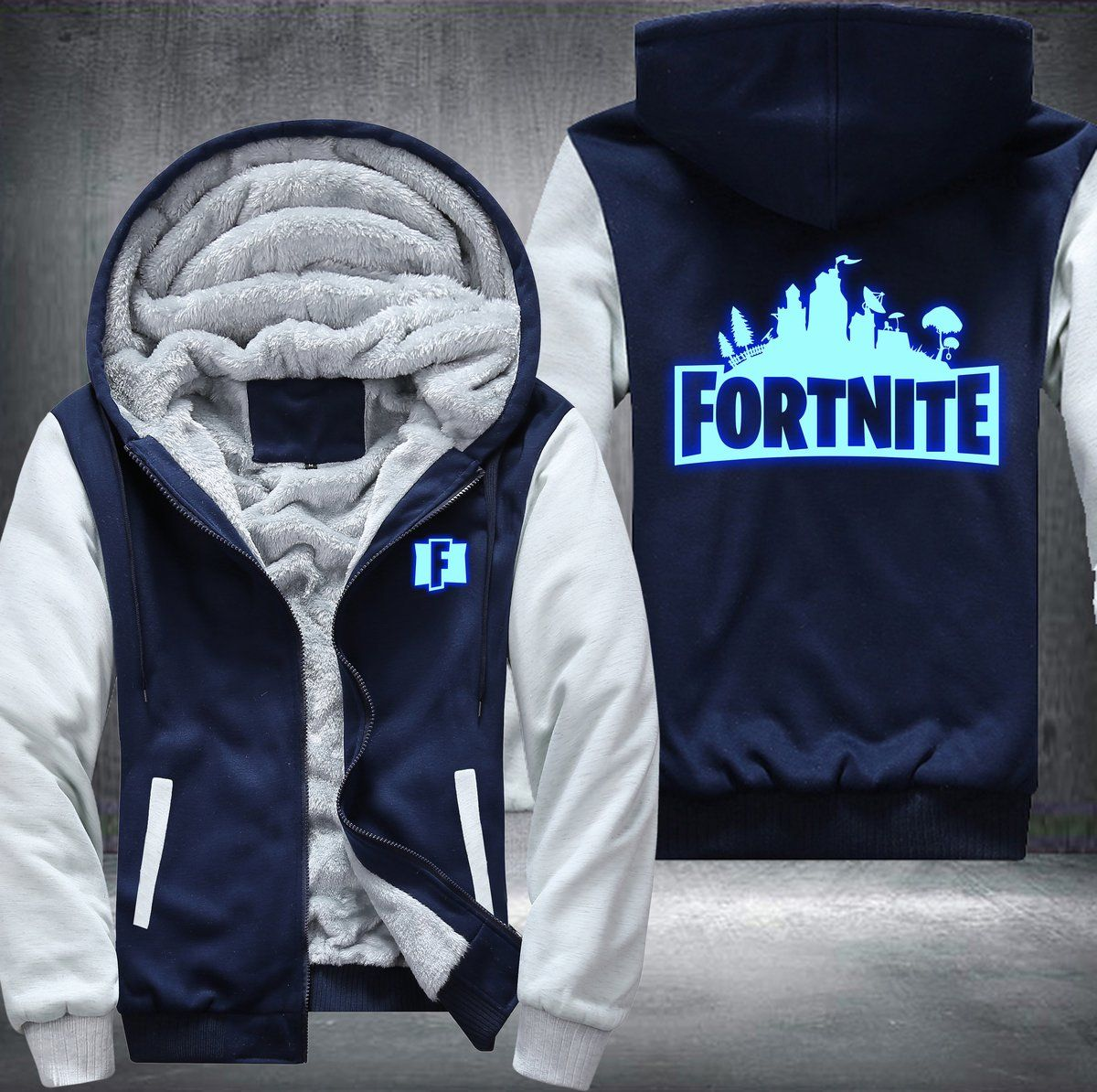 bae9d2f4d2cd GUARANTEED SATISFACTION OR YOUR MONEY BACK! for kid s size please take a  SMALL size.Only for the Fortnite fans. A GLOW IN THE DARK Fleece Jacket.