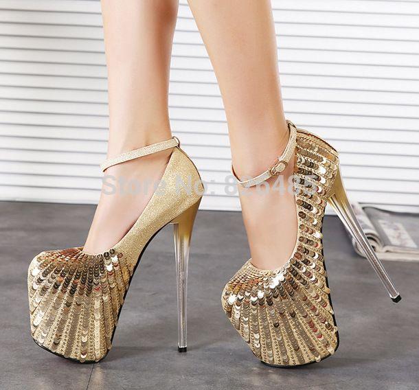 Gold glitter high heels platform