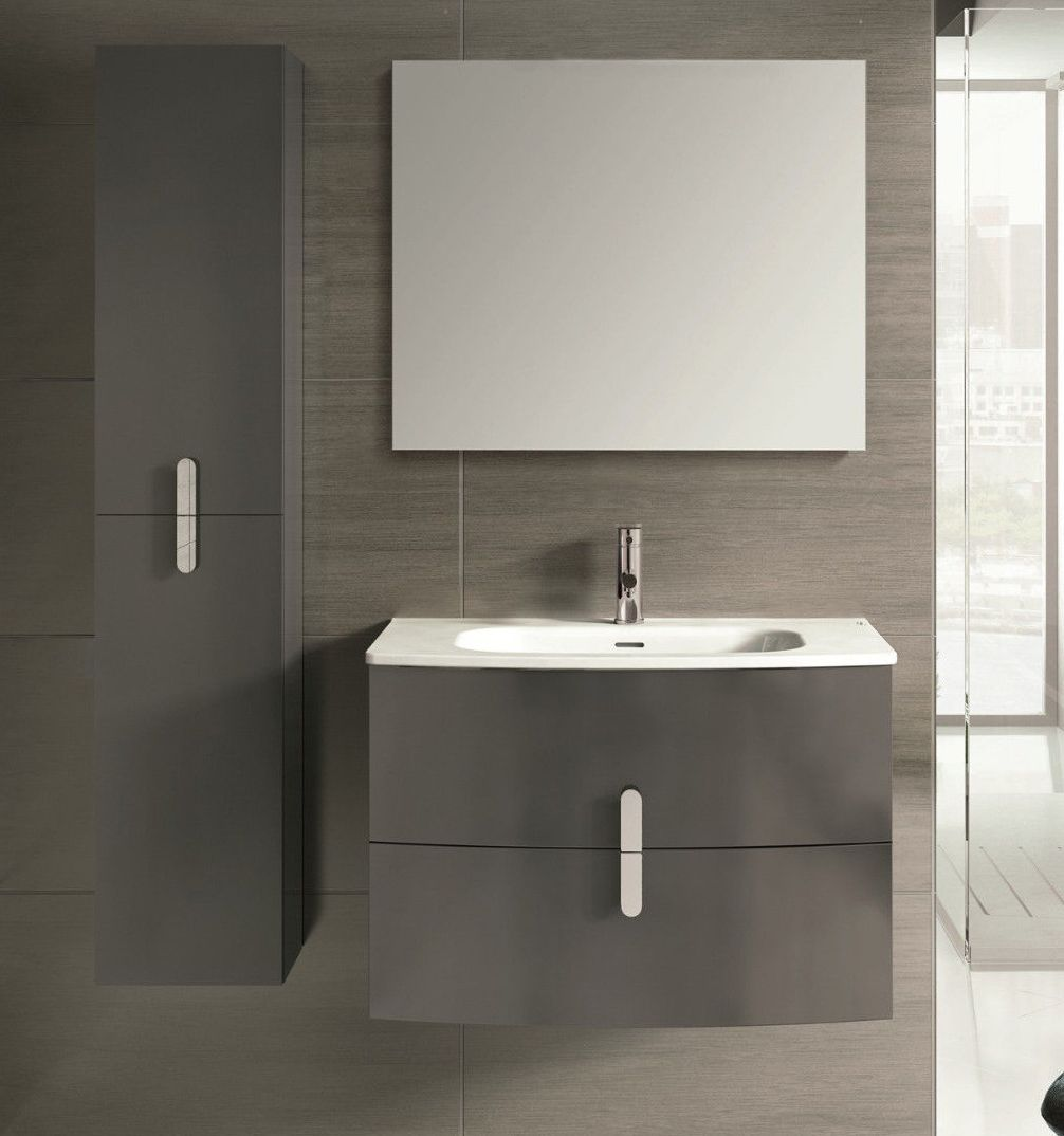 Accanto 31 Inch Modern Wall Mount Bathroom Vanity Grey Finish
