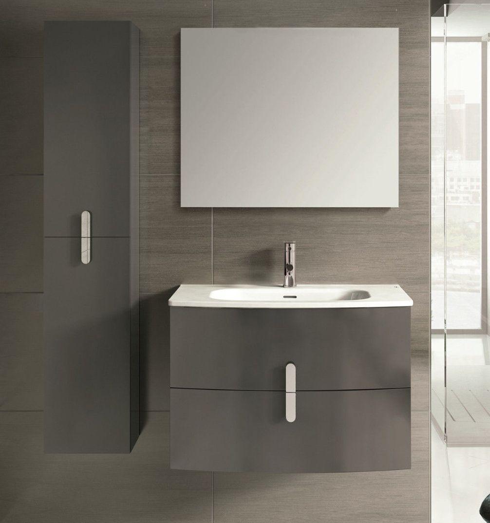 Spain Style 31 Inch Modern Wall Mount Bathroom Vanity Grey Finish